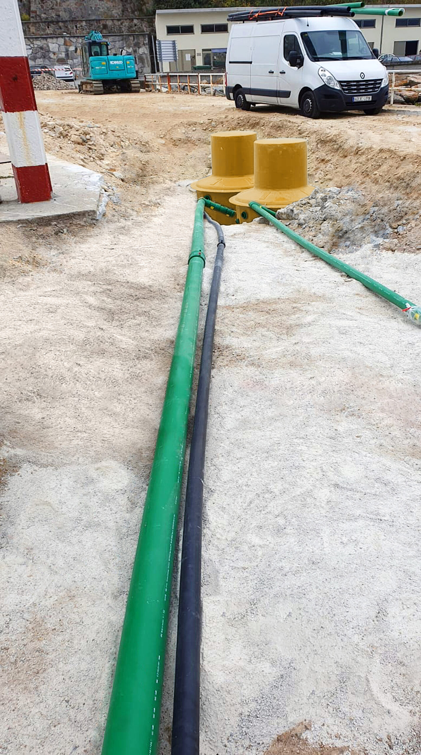 Conductive pipes avoid any static electricity build up from fuel flow